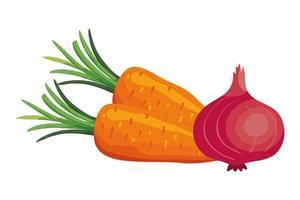 färska morötter med lila lökgrönsaker vektor