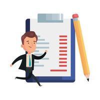 Geschäftsmann mit Zwischenablage Dokument und Ikonen vektor