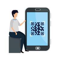 man och smartphone-enhet med skanningskod qr
