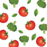 bakgrund av tomater och broccoli grönsaker