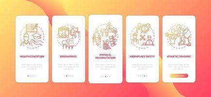 Red Onboarding Mobile App-Seitenbildschirm für Gesundheitserziehung mit Konzepten