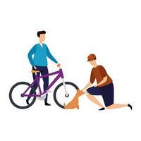 Männer mit Fahrrad und Hund isolierte Ikone