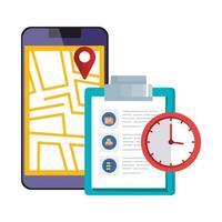 Smartphone mit Kartenstandort-App und Symbolen