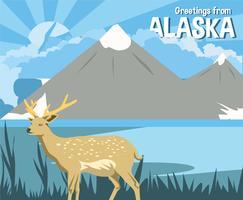 Alaska hjort vykort vektor