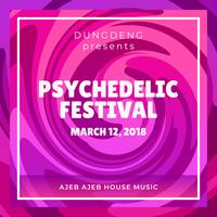 Psychedelic festivalaffisch vektor