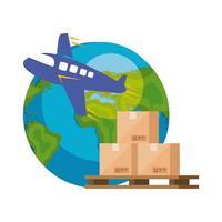 Weltplanet Erde mit Flugzeug und Kisten