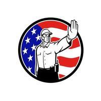 amerikanischer Grenzpatrouillenoffizier, der Gesichtsmaskenstoppsymbol trägt