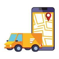Smartphone mit App-Logistikservice und Van