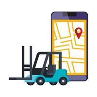 smartphone med kartplaceringsapp och gaffeltruck