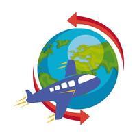 Weltplanet Erde mit Flugzeug und Pfeilen