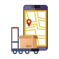 smartphone med kartplaceringsapp och låda vektor