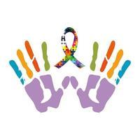 Handabdrücke mit Band der Puzzleteile Symbol