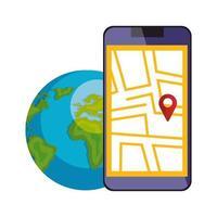 smartphone med kartplaceringsapp och världsplanet vektor
