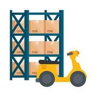 Lager Metallregale mit Kisten und Roller vektor