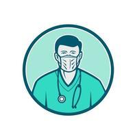 männliche Krankenschwester, die chirurgische Maskenikone trägt