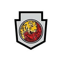 Drache und Tiger in Yin Yang Symbol Wappen Maskottchen