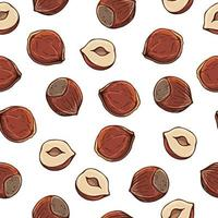 Muster von Vektorillustrationen auf dem Ernährungsthemasatz von Haselnüssen. realistische isolierte Objekte für Ihr Design.