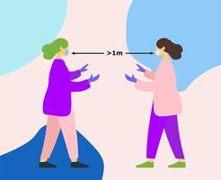 två kvinnor i masker och latexhandskar vektor