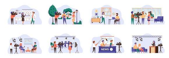 journalistikbunt scener med platta karaktärer. vektor
