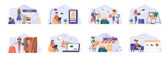 Einkaufsszenen bündeln sich mit Personencharakteren.