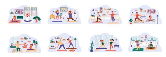 yogabunt med scener med platta karaktärer.