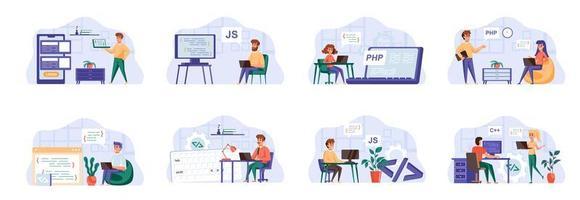 Programmierszenen mit Personencharakteren. vektor
