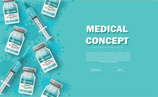 Impfstoff Hintergrund. Impfkonzept. Gesundheitsversorgung und Schutz. Vektorillustration