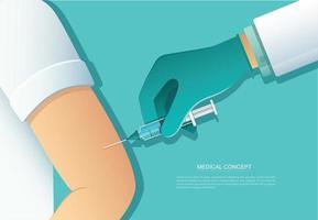 Arzt, der Patientenimpfstoff, Medizingesundheitskonzept, Vektorillustration gibt