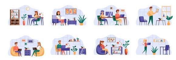 Coworking Office Bundle mit Personencharakteren.