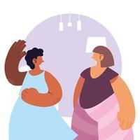 Frauen zu Hause in Quarantäne.