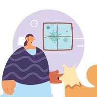 kvinna och husdjur hemma för förebyggande av koronavirus