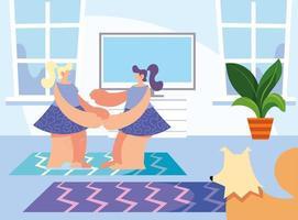Frauen und Haustier zu Hause