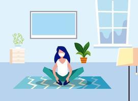 kvinna med mask hemma vektordesign