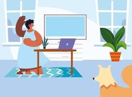 kvinna och husdjur hemma