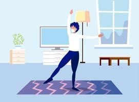 man dansar med hemma vektordesign hemma