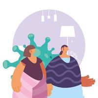 Frauen mit Symptomen einer Coronavirus-Krankheit