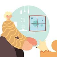 man och husdjur hemma för förebyggande av koronavirus