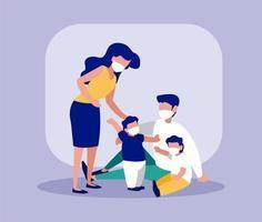 familj med masker framför ramvektordesign