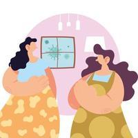 kvinnor hemma för att förebygga koronavirus.