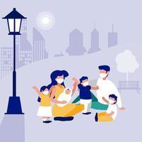 familj med masker på parkerar framför stadsvektordesign