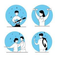 sätt scener för ungdomar som gör aktiviteter
