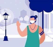 Mann mit Maske draußen am Parkvektordesign