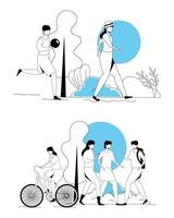 sätt scener för människor som gör aktiviteter