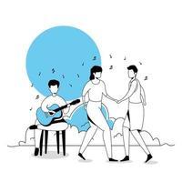 man med gitarr och par dansar