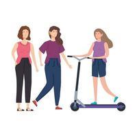 Frauen mit Roller-Avatar-Charakter