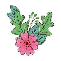 söt blomma rosa med gren och blad isolerad ikon