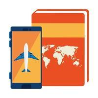 Flugzeug im Smartphone mit Atlasbuch