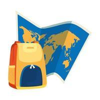papperskarta med ryggsäck isolerad ikon