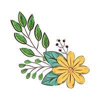 niedliche gelbe Farbe der Blume mit Zweigen und Blättern isolierte Ikone