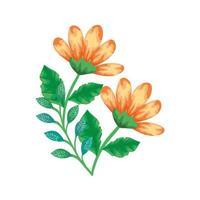 gelbe Farbe der niedlichen Blumen mit Zweigen und Blättern isolierte Ikone